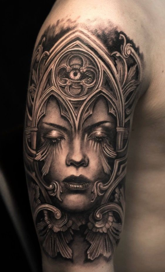 Armored Woman Arm Tattoo