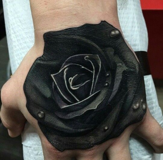Awesome 3D Black Rose Hand Tattoo