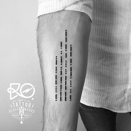 Broken Lines Forearm Tattoo