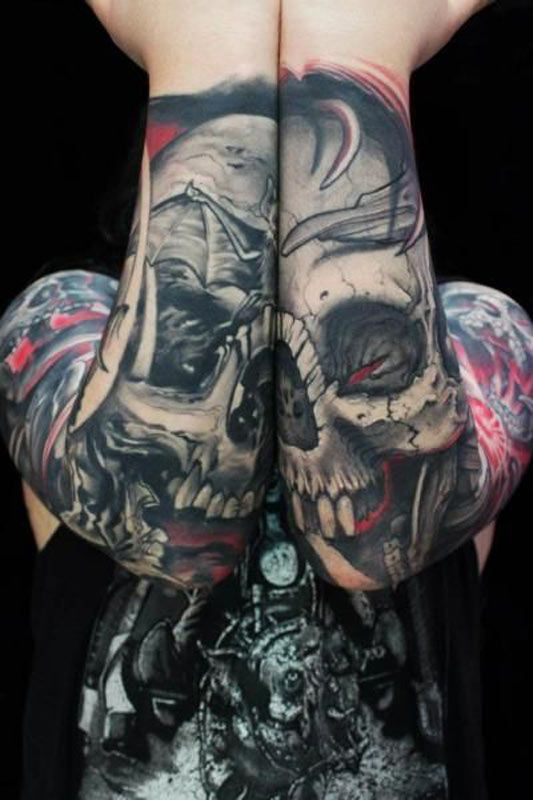 Connecting Skull Arm Tattoos