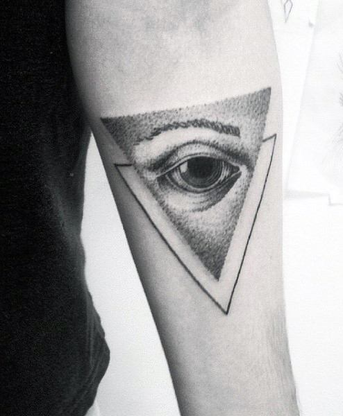 Dotwork Eyes Forearm Tattoo