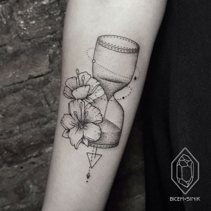 Dotwork Floral Hourglass Tattoo