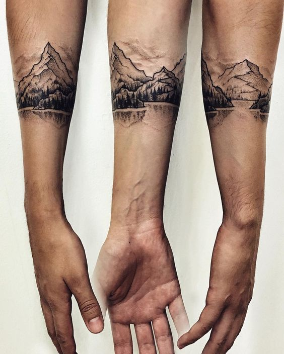 Dotwork Landscape Armband Tattoo