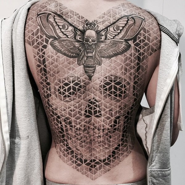 Dotwork Moth And Skull Back Tattoo