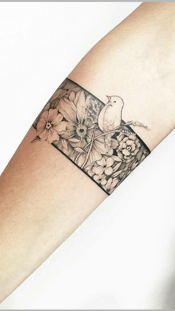 Floral Armband With Bird Tattoo