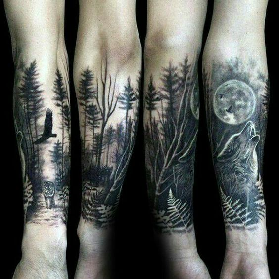 Forest Scene Armband Tattoo