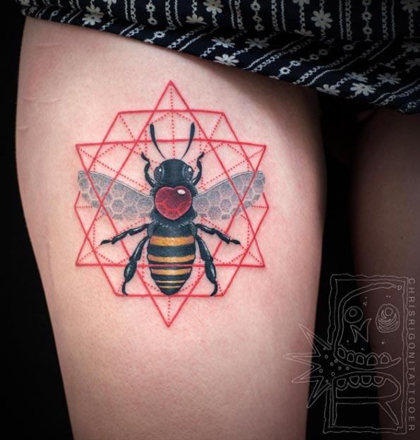 Geometric Bee Thigh Tattoo