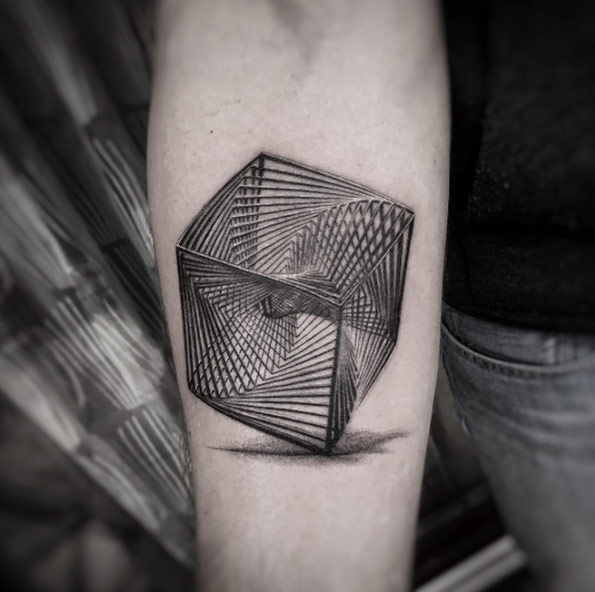Geometric Cube Forearm Tattoo