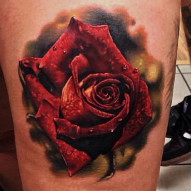 Gorgeous 3D Red Rose Tattoo