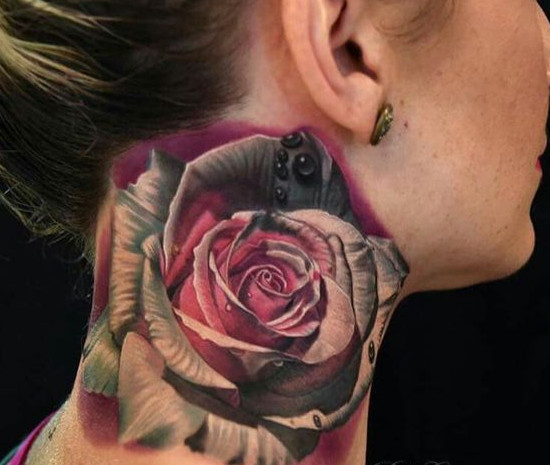 Gradient Roses Neck Tattoo
