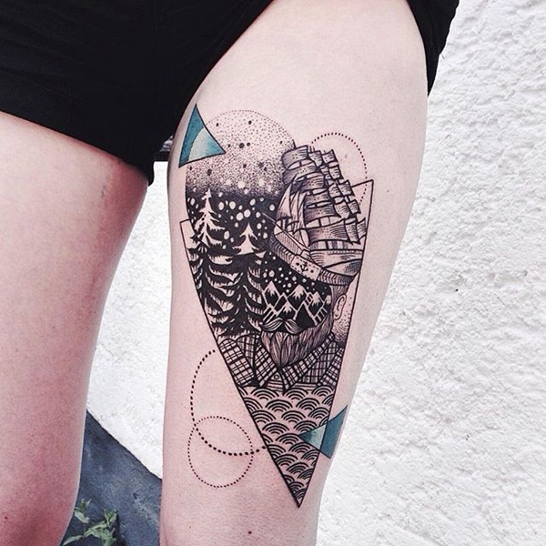 Heart Framed Geometric Piece Thigh Tattoo