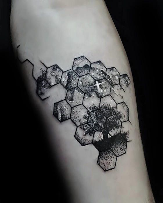 Hexagon Celestial Tattoo