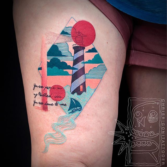 Lighthouse Geometry Thigh Tattoo