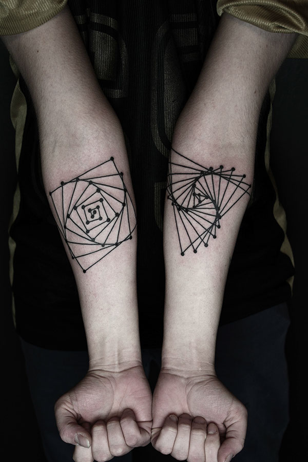 Linear Geometry Forearm Tattoos
