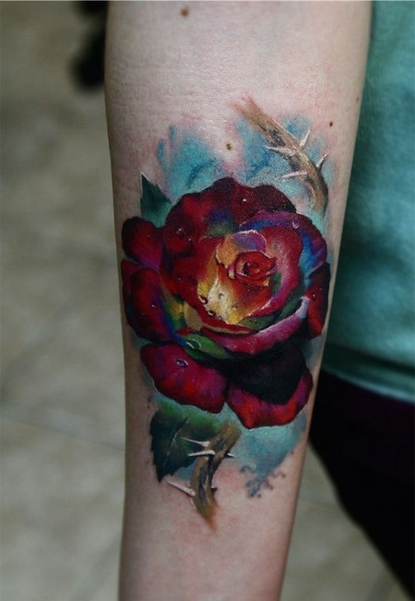 Multi Hued 3D Flower Tattoo