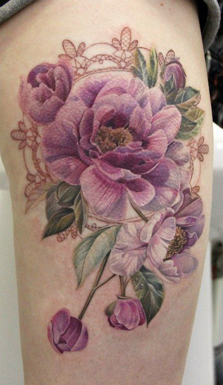 Purple Peonies Tattoo