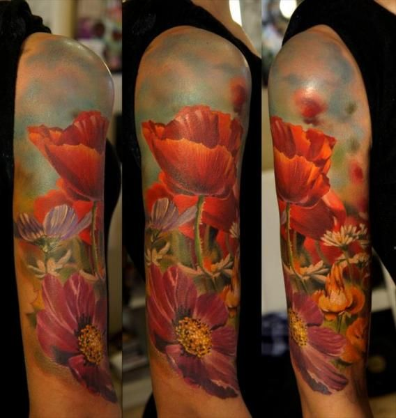 Realistic Flower Field Sleeve Tattoo