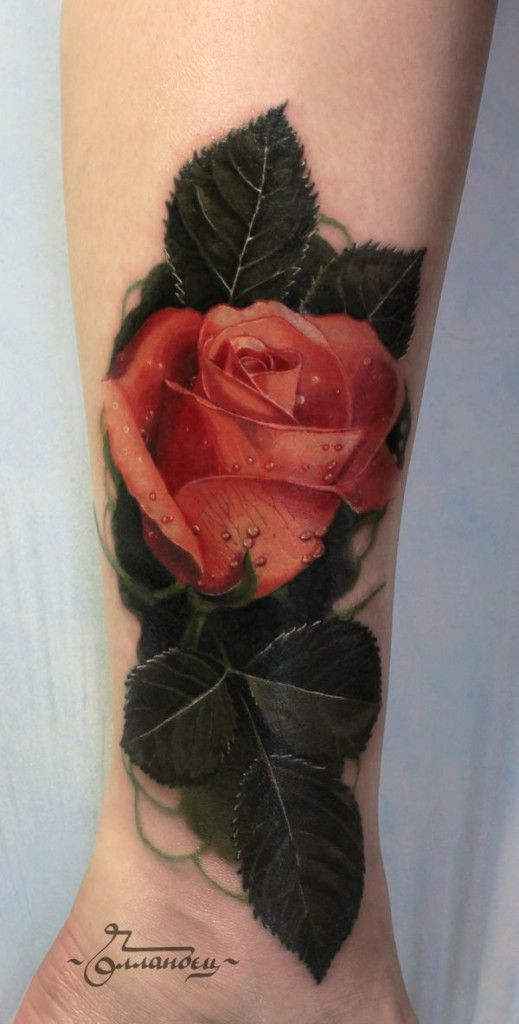 Realistic Peach Rose Leg Tattoo