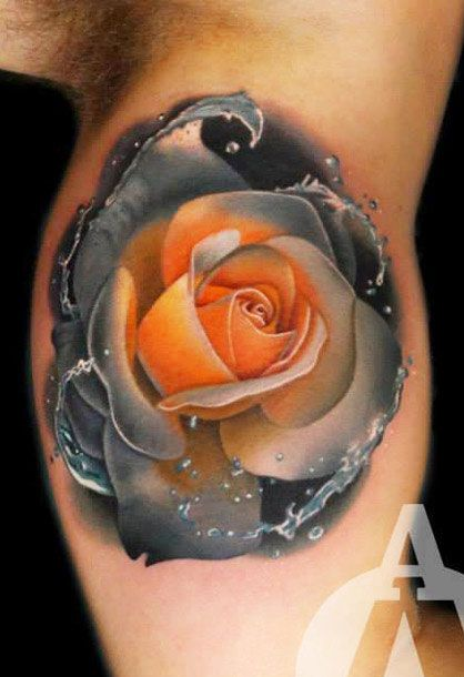 Realistic Rose With Water Splash Arm Tattoo
