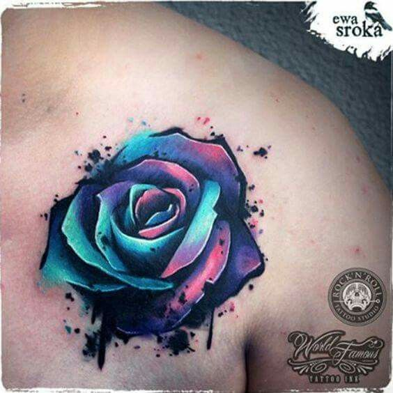 Realistic Watercolor Rose Tattoo