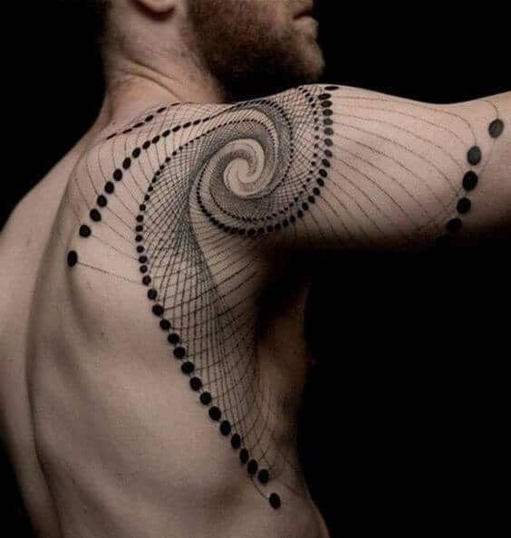 Spherical Geometry Shoulder Tattoo