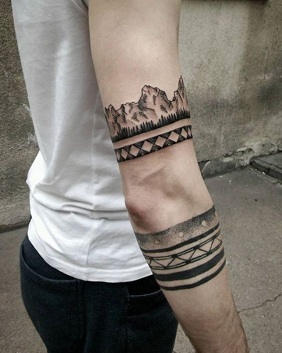 Tribal And Mountains Armband Tattoo