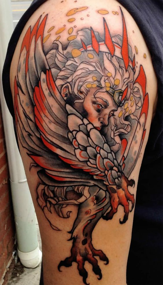 Winged And Clawed Lady Arm Tattoo