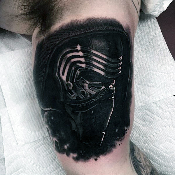 Blackwork Helmet Arm Tattoo