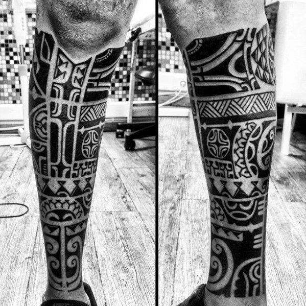 Blackwork Tribal Leg Sleeve Tattoo
