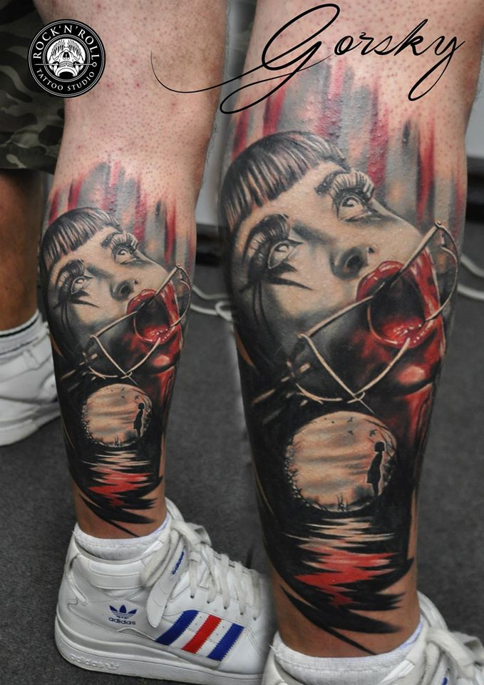 Bloody Lady Leg Tattoo