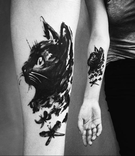 Brush Stroke Cat Forearm Tattoo