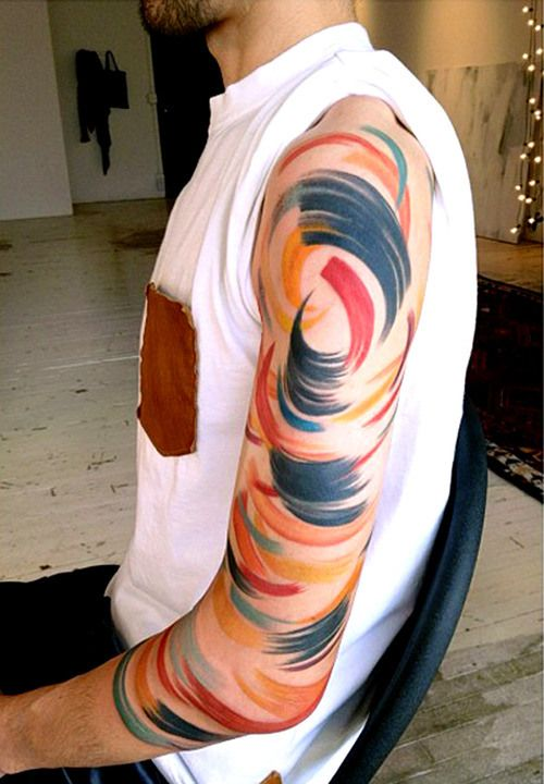Brush Stroke Circles Sleeve Tattoo