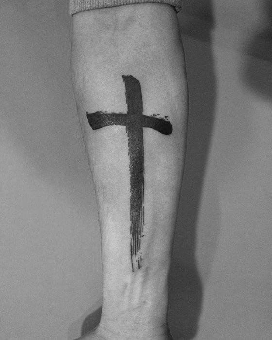 Brush Stroke Cross Forearm Tattoo