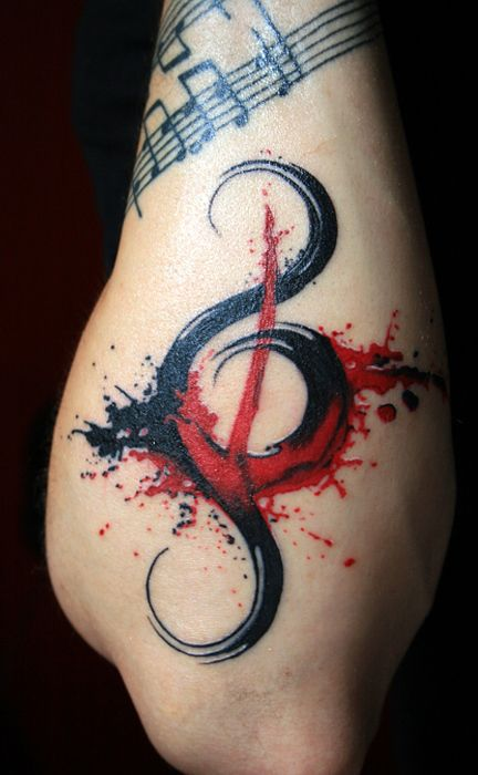 Brush Stroke Music Note Arm Tattoo
