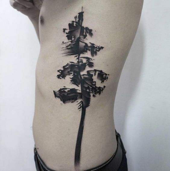 Brush Stroke Tree Side Body Tattoo