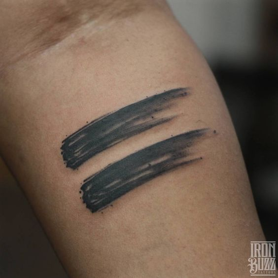 Equal Sign Brush Stroke Tattoo