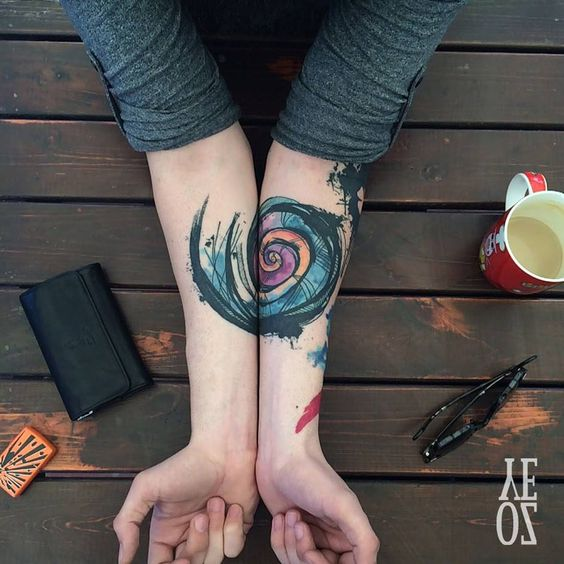 Fibonacci Themed Brush Stroke Tattoo