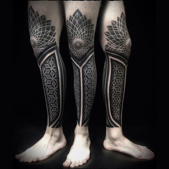 Fine Geometric Mandala Leg Sleeve Tattoo