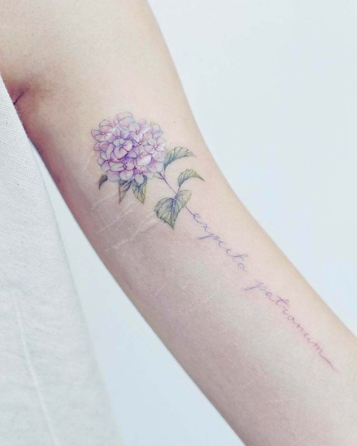 Floral Bouquet And Typography Pastel Tattoo