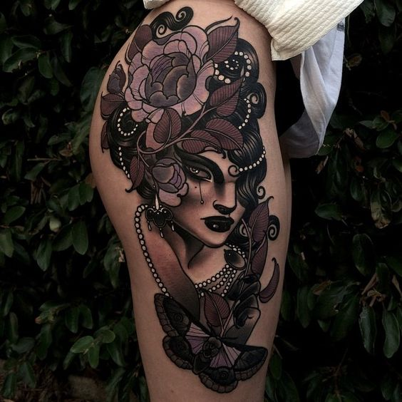 Floral Vintage Woman Thigh Tattoo