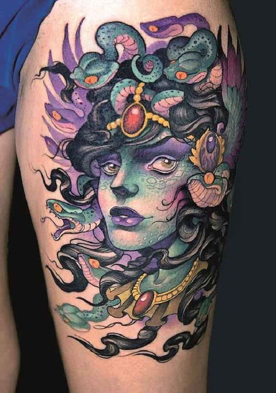 Gorgeous Medusa Thigh Tattoo