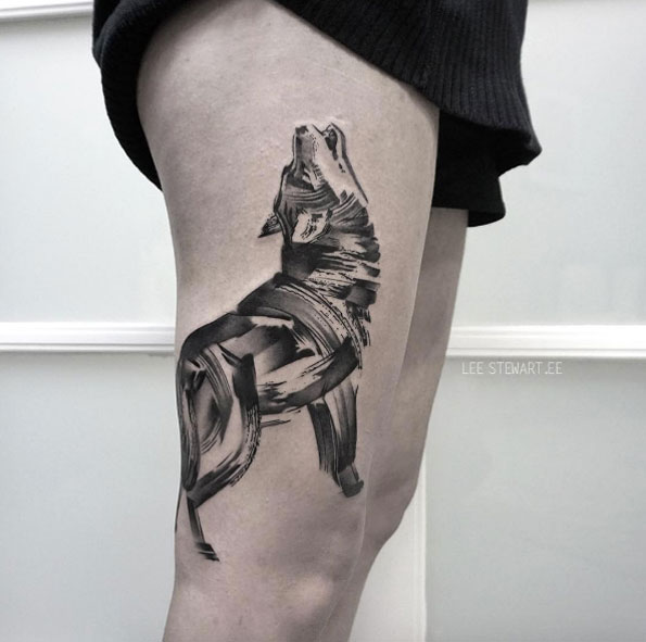Howling Wolf Brush Stroke Tattoo