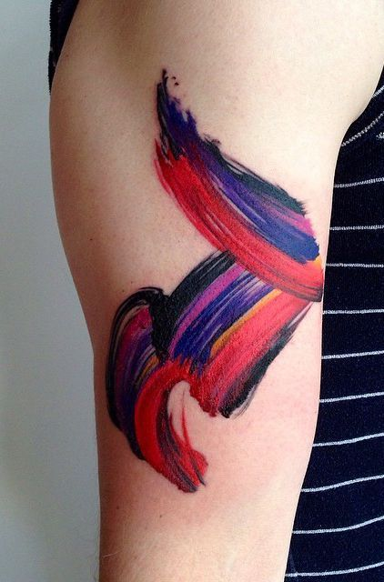 Multi Hued Brush Stroke Tattoo