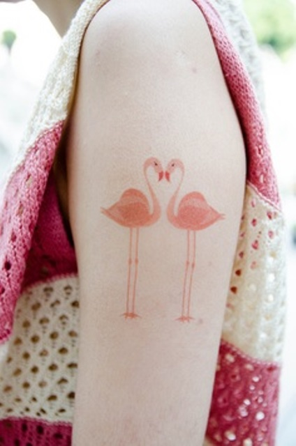 Pastel Flamingos Arm Tattoo