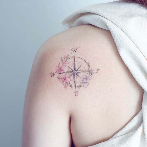Pastel Floral Compass Tattoo