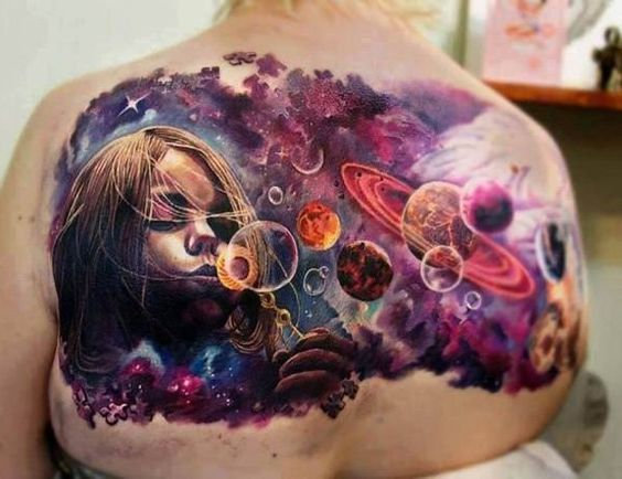 Portrait Space Back Tattoo