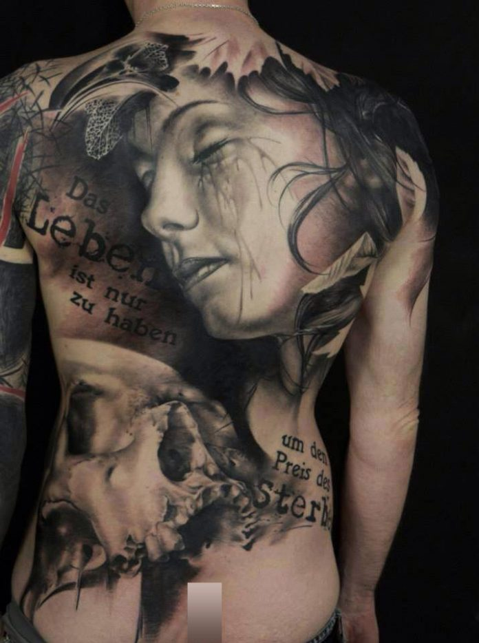 Realistic Portrait Back Tattoo