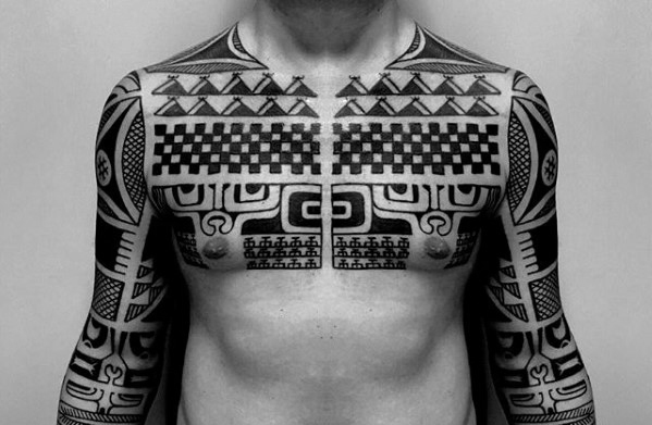 Symmetrical Tribal Chest Tattoo