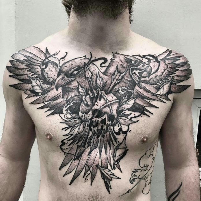 Two Headed Bird And Skull Chest Tattoo