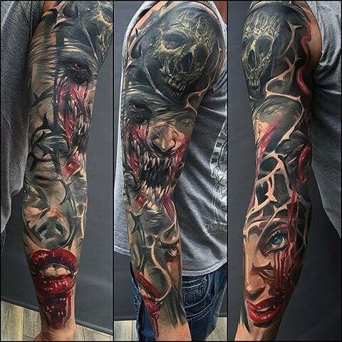 Wicked Themed Sleeve Tattoo